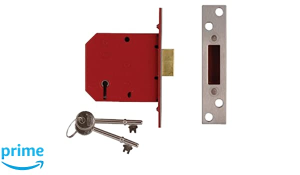 Union 2134 5 Lever Mortice Door Deadlock 79.5mm Satin Chrome Keyed To Differ