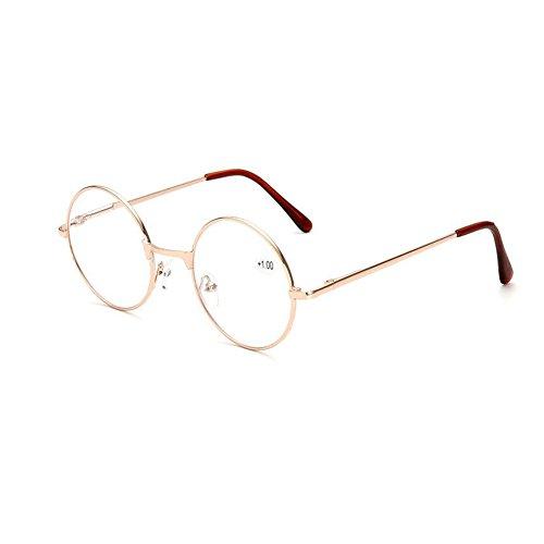 Meijunter WLesegläser runder Retro Art-Metallrahmen der Gläser Lesegläser(gold/Stärke:+2.5)