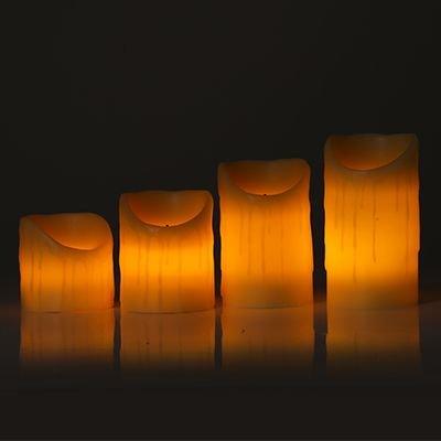"""4er-Set Echtwachs-Kerzen """" Natur """"mit Ladestation 02396-NA"""
