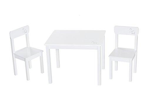 roba Kinder Sitzgruppe \'Little Stars\', Kindermöbel Set aus 2 Kinderstühlen & 1 Tisch, Sitzgarnitur Holz, weiß lackiert, mit Sternen