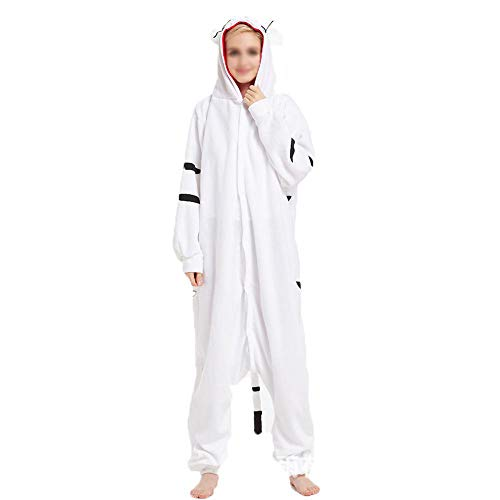 Tiger Kostüm White Strampler - Pyjama Cosplay Polar Fleece Weißer Tiger Tier Mann Universal Cartoon Einteiliger Pyjama Kostüme Karnevalskleidung Hauskleidung White-L