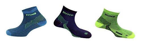 Mund Socks Pack Running: 3 Calcetines antibacterias, terapéuticos, con Estructura semicompresiva y los pies diferenciados (Amarillo/Azul/Negro, M (38-41))