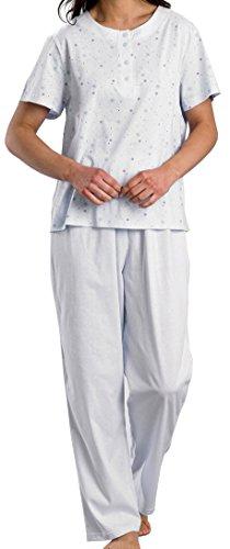 Femme d'été 100%  coton, col rond boutonnée à manches courtes imprimé Pyjammas Bleu clair Tailles S à XL Bleu pâle
