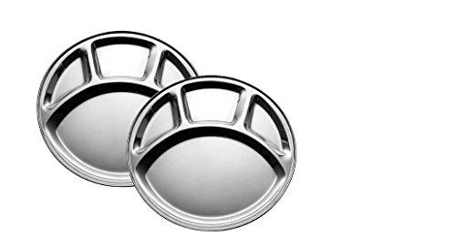 King International - Lot de 2 assiettes rondes à quatre compartiments en acier inoxydable - 30 cm
