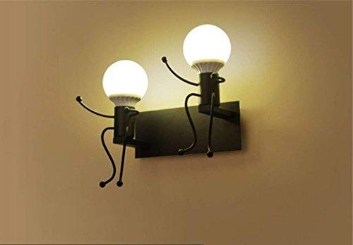 QAZ Wall lampe lumière moderne Petit Restaurant Salon Chambre à coucher lampe de chevet escalier Couloir Couloir Interrupteur bouton Lampe E27 Port nuit Lumière (Couleur : noir, taille : lumière chaude)