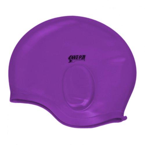 Silikon Badekappe für Erwachsene Bademütze mit Ohrenschutz Badehaube Unisex , Farbe: Violett, Größe: Einheitsgröße