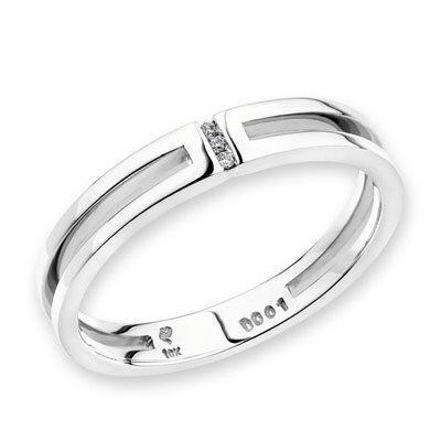 mblife 18K oro bianco singolo canale Impostazione tre Pietra Diamante Band (0,01ctTW, certificato G-H, colore (Diamante Dei Canali Band Ring)