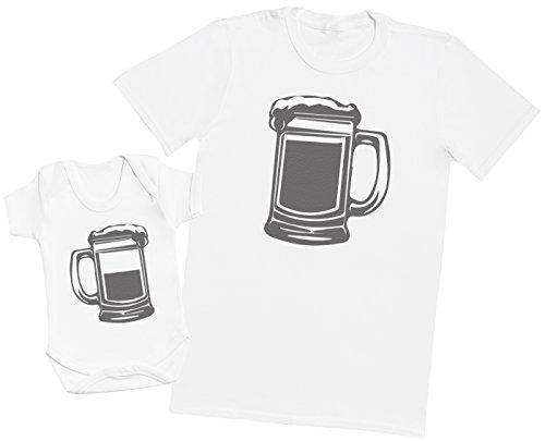 Zarlivia Clothing Dad Pint and Baby Half Pint - Ensemble Père Bébé Cadeau - Hommes T-Shirt & Body bébé - Blanc - M & 3-6 Mois