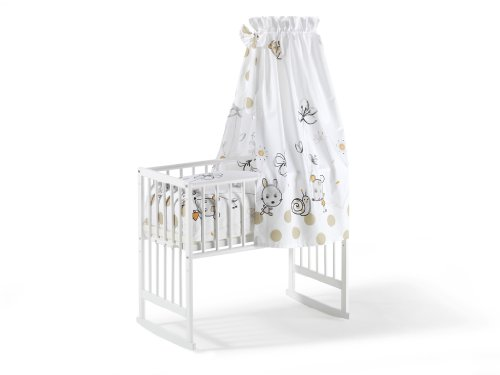 Schardt 099500002 1/704 - Cuna multifunción de haya maciza con colchón y ropa de cama incluida, color blanco [Importado de Alemania]