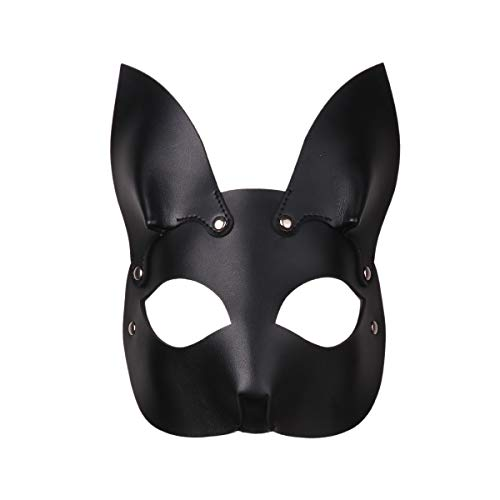 Agoky Unisex PU Leder Maske Fuchs Bunny Kaninchen Gesichtsmaske mit Ohren Halbmaske Maskerade Outfits Schwarz A One Size