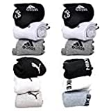 Socks ADS-PM-NK Printed Logo Multicolour Pairs Of Socks Ankle Length White/ Grey/ Black Pack Of 12