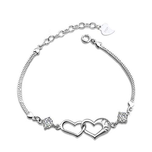 JunBo Mode Silber Armband Doppelte Herz Armband