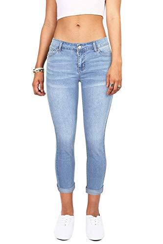 Targogo Damen Jeans Junioren Distressed Skinny Fit Slim Stretchy Pocket Mädchen Knöpfen - Junioren Distressed Skinny Jeans