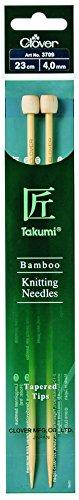 Clover 3709 Bambus-Jackennadeln Takumi 23 cm, 4 mm - Takumi Clover-stricknadeln