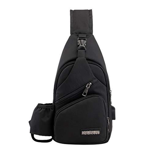 MRULIC Herren Brusttasche Reisetasche Mode Tasche Multifunktions Messenger Bag Einfach zu Installierende Brieftaschen und Handys(Schwarz,One Size) (Blaue Heels Größe 6)
