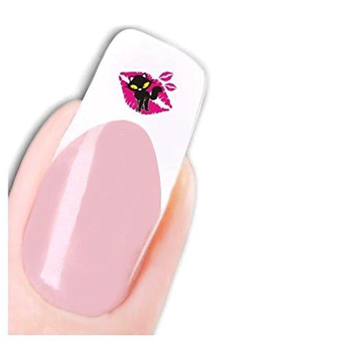 Justfox - tattoo adesivo kiss cat nail art gatto con fresa per unghie e adesivi base water forma