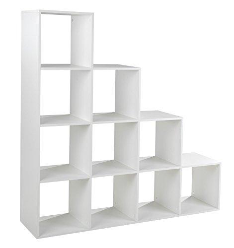 Treppenregal Stufenregal Raumtrenner Bücherregal | Weiß matt | 10 Fächer