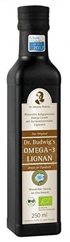 Dr. Budwig Omega-3 Lignan, Abgefüllt in Glasflaschen, 1er Pack (1x 250 ml), bio,