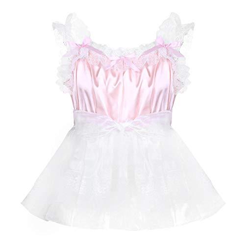 Kleid mit Spitzen Rüschen Männer Erotik Dessous Body Hemd Nachtwäsche Satin Organza Tütü Röckchen Rosa Large ()