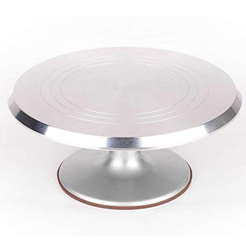HibiscusElla Round Rotating Cake Platform Stainless Steel Cake Swivel Plate with Silicone Base Durable Revolving Decoration Stand -