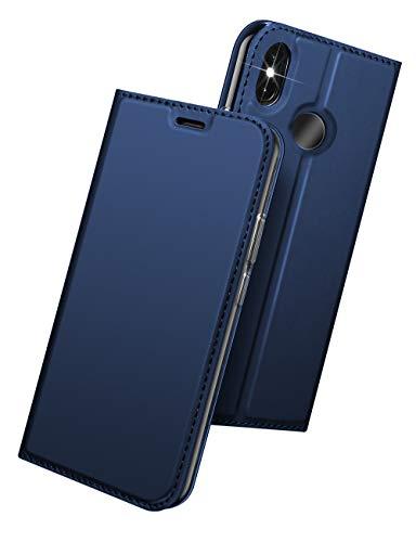 KumWum Custodia Xiaomi Mi A2 Flip in Pelle PU Ultra Magro TPU Antiurto Chiusura Magnetica Slot per schede Funzione Stand Cover per Xiaomi MiA2(Blu