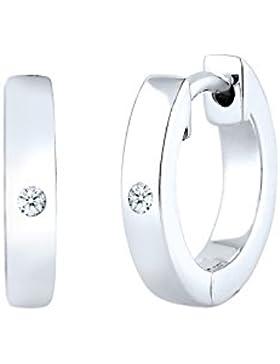 Diamore Damen-Creolen 925 Diamant (0.04 ct) weiß Brillantschliff - 0302892217