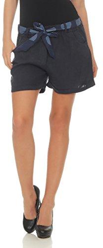 Malito Damen Shorts aus Leinen | Lässige Kurze Hose | Bermuda für Den Strand | Pants - Hotpants 6058 (Dunkelblau, S)
