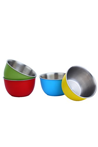 Homeish Metallo Microwave Safe Stainless Steel Plastic Coated Bowls (Multicolor) - Set of 4 - 13 Cms