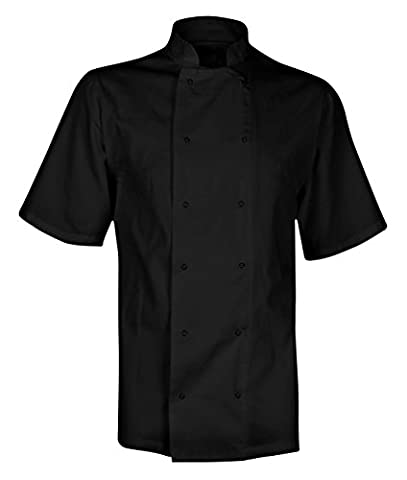 Chef's Short Sleeve Jacket Shirt White or Black, XS-4XL (L, Black)