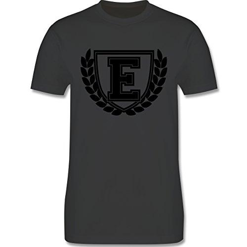 Anfangsbuchstaben - E Collegestyle - Herren Premium T-Shirt Dunkelgrau