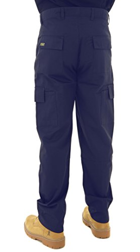 "Image of Mens Multi Pocket Action Cargo Work Trousers Sizes 28 to 52 Black or Navy 48 Waist / 31"" Regular Leg Navy"
