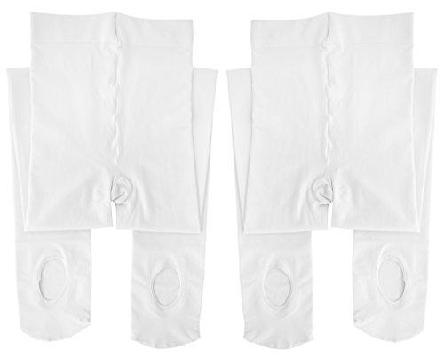 Dancina Mädchen Strumpfhose Ultra-Stretch Mikrofaser m. variablem Fuß 120 DEN S (104 - 122) Weiß x2