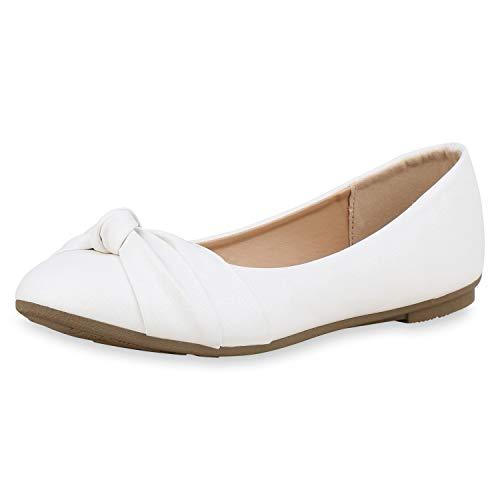 SCARPE VITA Damen Klassische Ballerinas Glitzer Schuhe Flats Slip On Freizeitschuhe Slipper 181820 Weiss Glitzer 40
