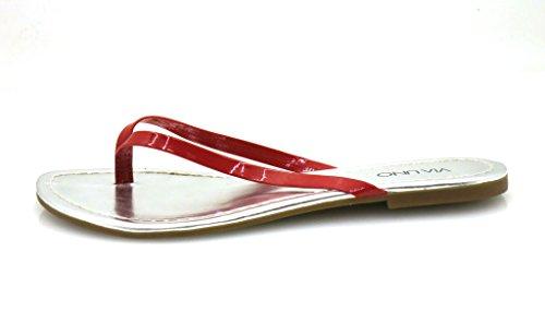 VIA UNO SANDALO INFRADITO di punta Infradito Cuoio Verniciato SCARPE DONNA PANTOFOLE Rosso (rosso)