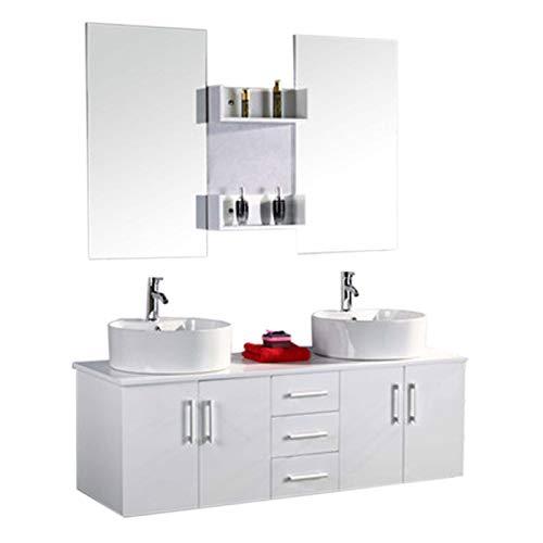 GRAFICA MA.RO SRL Muebles para baño para Cuarto de baño Modelo White Lion  151cm Espejo Grifos Incl. Mueble + repisas + grifería + fregaderos