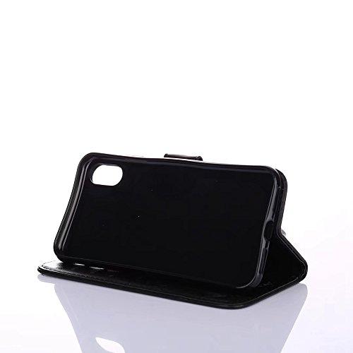 JIALUN-Telefon Fall Mit Card Slot, Lanyard, geprägte Mode Open Handy Shell für IPhone X ( Color : Red ) Black