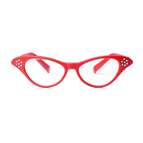 Providethebest Diamante Retro Kunststoff-Glas-Rahmen Harzlinse Frauen Dekoration Gläser Eyewear für Custume/Parteienrot
