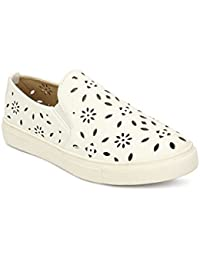 My Lil Berry White Ventilated Cut-work Slip-On Shoes For Girls|Kids