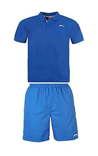slazenger-mens-tennis-kits-black-blue-white-polo-top-and-shorts-set-elasticated-waist-exercise-fitne