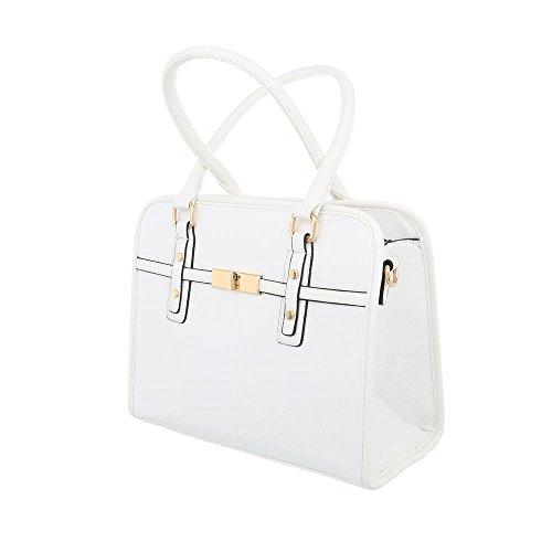 iTal-dEsiGn Damentasche Mittelgroße Schultertasche Handtasche Kunstleder TA-K685 Weiß