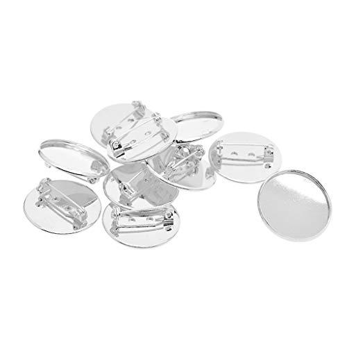 P Prettyia 10 Stücke 25mm Cabochon Brosche Blank Revers Pin Abzeichen Basis Pin Back Taste Basis Metall - Weiß