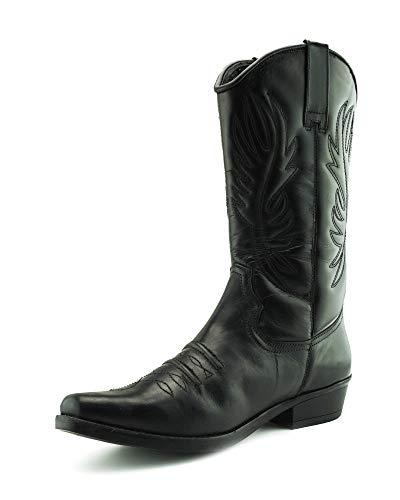 Herren Leder Cowboy-Ziehen Auf der westlichen Langen kubanischen Ferse Smart Knöchel Stiefel EU40-47 - UK 13 / EU 47, Schwarz