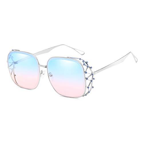 Sonnenbrille Outdoor Street Shoot Dekoration UV-Schutz Sonnenschutz Metall Marine Lens Ladies Eye Protection (Farbe: Silberrahmen Blaue Puderlinse)