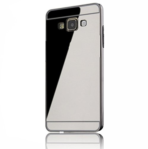 Sunroyal Samsung Galaxy A5 SM-A500F (2015) Mirror Spiegel Metall Case Cover - Aluminium Bumper Case für Samsung Galaxy A5 Metal Hülle Alu Metal Schutz Mirror Chrom Cover Ultra Slim Handy Tasche LUXUS Metall BackCover Schutzhülle Rahmenschutz Glitzer Bling Kristall Harte Hard Schale Crytsal, Schwarz Black