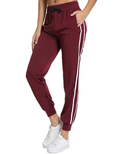 FITTOO Damen 2 Gestreift Streifen Freizeithose Jogginghose Hose Sportswear Style
