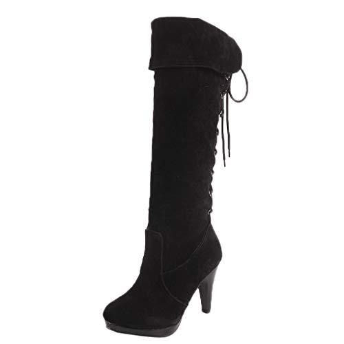 Hinteren Ferse (Fuibo Damen Stiefel, Mode Retro Frauen Hintere Krawatte Schuhe Runde Zehe Rutschfeste Ferse Hohe Stiefel |Winterstiefel Stiefel Ankle Boots Schuhe Schlupfstiefel (40, Schwarz))