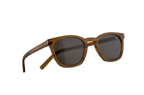 Saint Laurent SL 28 Sonnenbrille Olive Brau Mit Grauen Gläsern 49mm 005 SL28