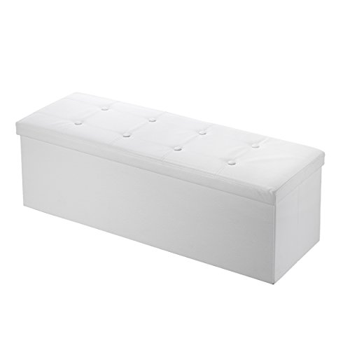 Mari Home Clarendon - Puf otomana Plegable y reposapiés para almacenar Juguetes, Carga máxima 300 kg, 110 x 38 x 38 cm, Color Blanco