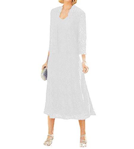 O.D.W Damen Spitze Formales Brautkleider Brautmutter Kleider mit Jacke Vintage Brautkleider(Weisse,...
