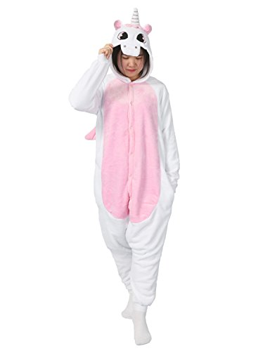 Très chic mailanda unisex con cappuccio pigiama da notte costume cosplay adulti costume di halloween (s(per 150-158cm), rosa unicorno)